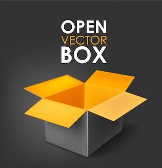 Open box black and orange on a dark background illustration