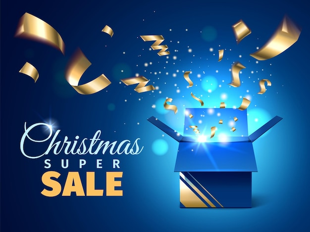 Open box sale poster. christmas discount banner, realistic blue gift box with golden sparkles and confetti, lottery surprise, vector concept