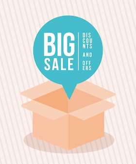 Open box with big sale dicounts and offers illustration design