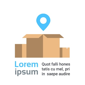 Open box with map pointer. fast delivery service concept. text template