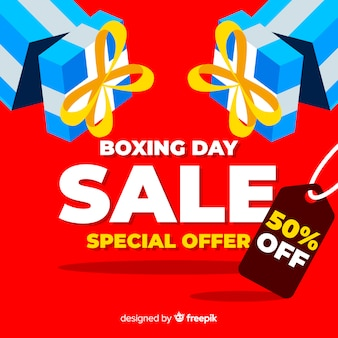 Open boxes boxing day sale background