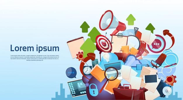 Открытый портфель, маркетинг, работа в команде, документ и целевая концепция деловой жизни Premium векторы