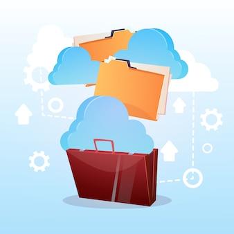 Open briefcase paper document cloud storage database business concept