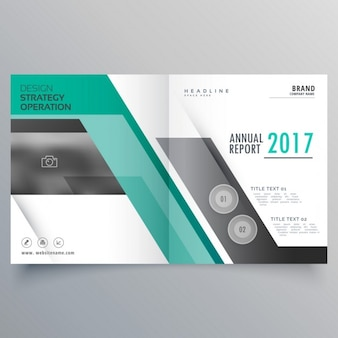 Open brochure with turquoise shapes