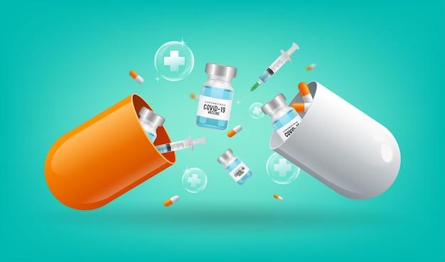 Covid19 개념을 치료하기 위해 백신 병과 주사기 알약이 떨어지는 개방형 캡슐 알약