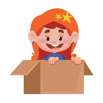 Open cardboard box package with a cute redhead little newborn baby girl inside vector illustration