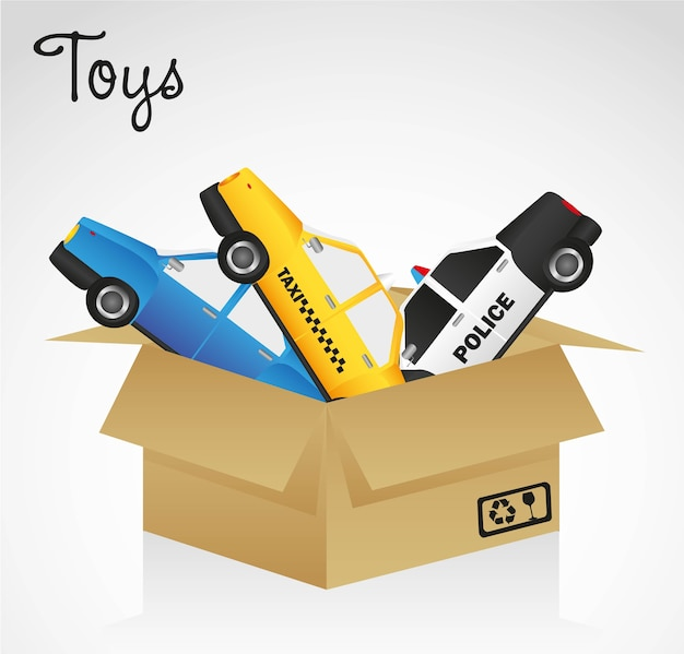 Open cardboard box whit car toys vector illustration