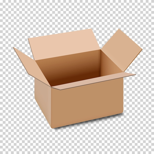 Open carton box icon, isolated on transparent background