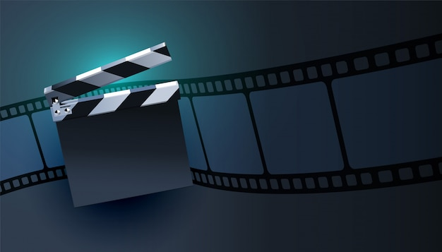 Open clapper board with film strip background design