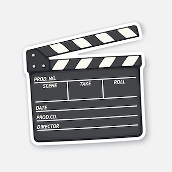 Open clapperboard used in cinema when shooting a film movie industry vector illustration