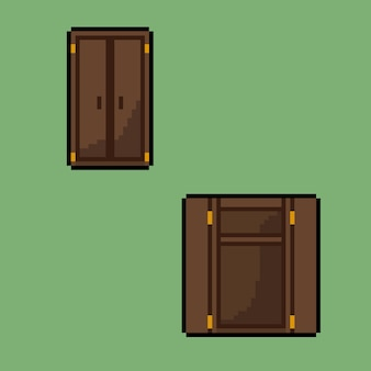 Open and close cupboard with pixel art style