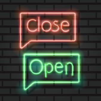 Open close neon signs on dark background
