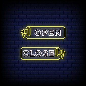 Open and close neon signs style text with megaphone icon