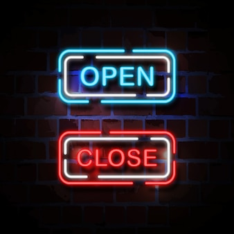 Open and close neon style sign illustration