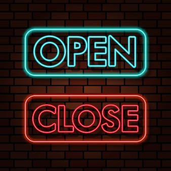 Open close sign neon light text effect illustration