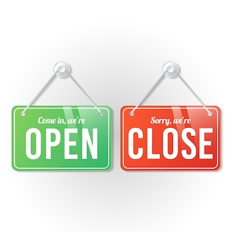Open and close store sign template