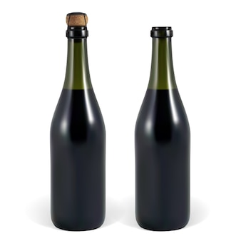 Open and closed bottle of sparkling wine or champagne