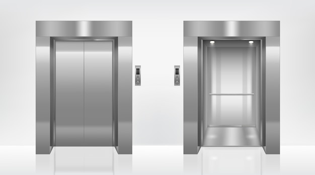 Open and closed elevator doors in office hallway