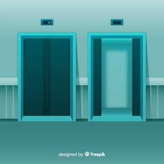 Open and closed elevator with flat design