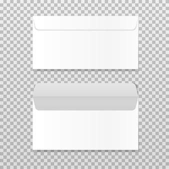Open and closed empty envelope. realistic blank letter template paper c4 white envelopes front view