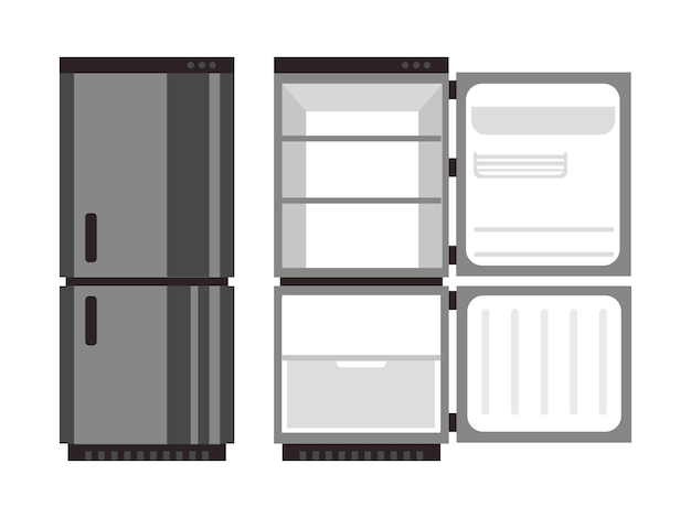 Open and closed fridge food vector illustration