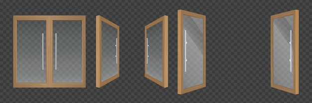 Open and closed glass doors with wooden frames