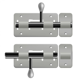 Open and closed metal latches on white