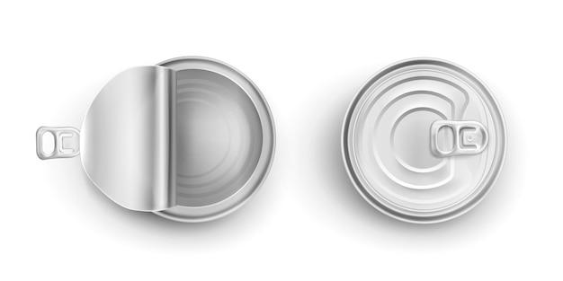 Barattoli di latta di metallo aperti e chiusi