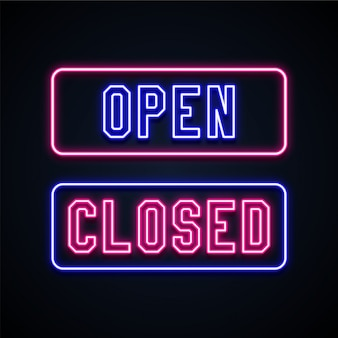 Open and closed neon signs