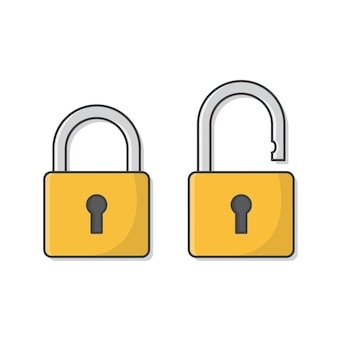 Open and closed padlock icon isolated on white