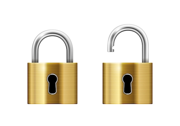 Open and closed padlocks with keyhole isolated