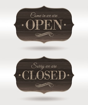 Open and closed - retro wooden signs.