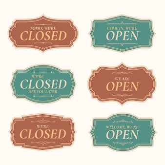 Open and closed sign collection
