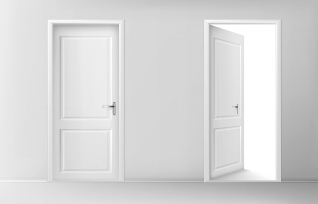 Open and closed white wooden doors