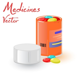 Open container with medical tablets for organism support.