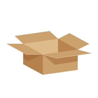 Open crate boxes 3d, cardboard box brown