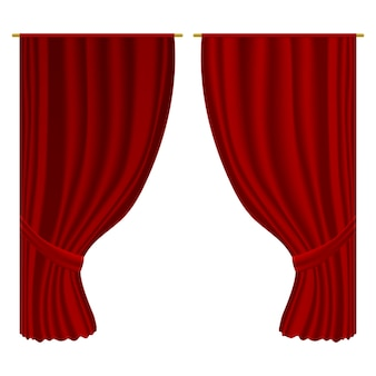 Open curtains.   realistic velvet textile decoration drapery . luxury open red curtains stage entertainment interior decor