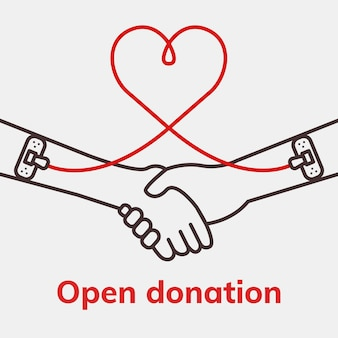 Open donation charity template vector blood donation campaign social media ad in minimal style