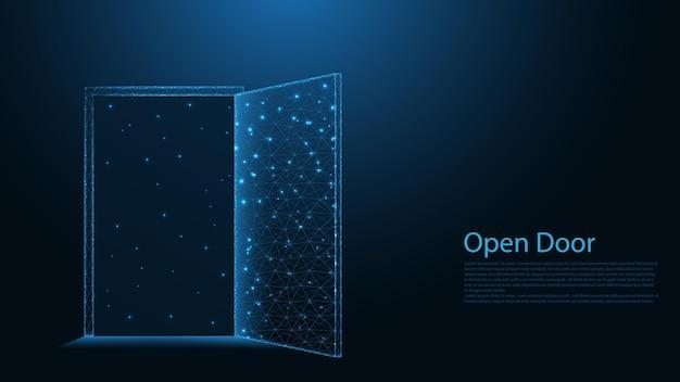 ドアライン接続を開きます。低ポリワイヤーフレームデザイン。抽象的な幾何学的な背景。ベクトルイラスト。