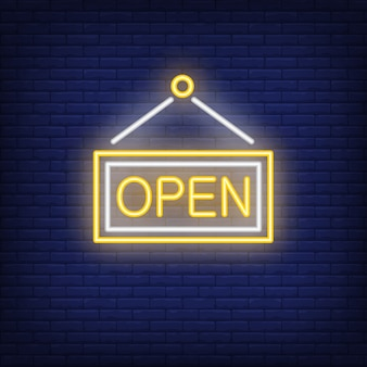 Open door neon sign