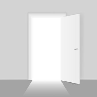ビジネスの成功の実例のためのオープンドアの機会の概念。ドアを開ける入り口への道、成功へのチャンス