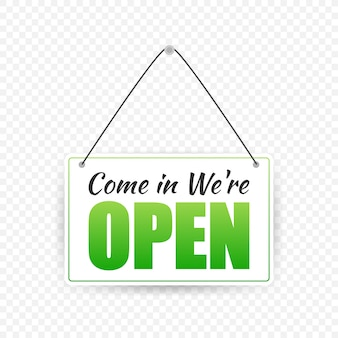 Open door sign. door sign. label with text in flat style.