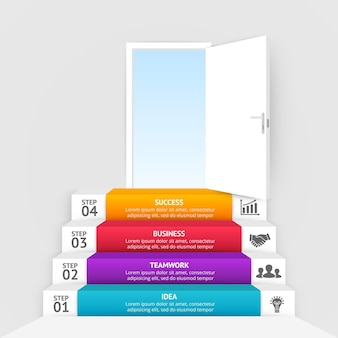 Open door up stairs startup infographic template business idea chart 4 steps