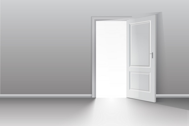 Open door in a white room with the outgoing light.