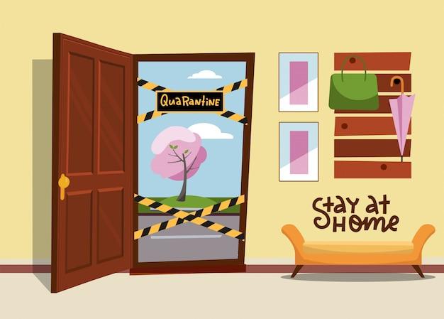 停止記号でドアを開き、「閉じる」、「隔離」に署名します。イラストフラットデザイン。ドアは縞模様の警告リボン、危険テープで塞がれています。行き止まりです。