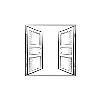 열린 문 손으로 그린 개요 낙서 아이콘입니다. 인쇄, 웹, 모바일 및 흰색 배경에 고립 된 infographics에 대 한 벡터 스케치 그림에 액세스 합니다.