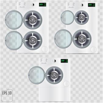 Open double washing machines isolated on transparent background