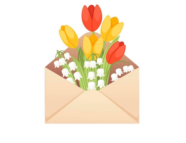 白い背景の上の春の花の創造的なデザインフラットベクトルイラストと環境に優しい紙の封筒を開きます。