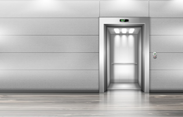 Open elevator doors in modern office hallway