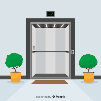 Open elevator doors and plants